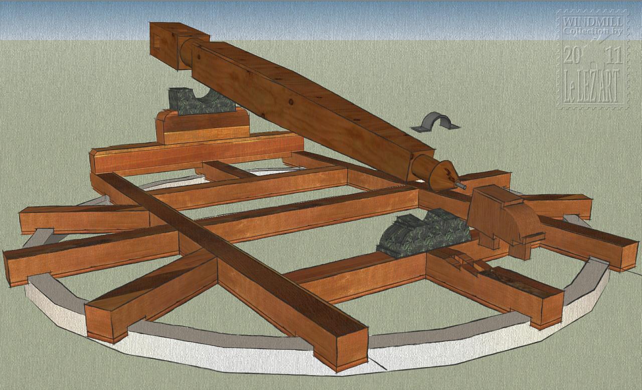 M canisme d 39 un moulin a vent la transmission les engrenages - Moulin a vent en bois a fabriquer ...